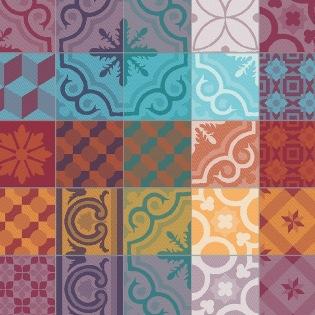 Mille Tiles Multicolore Serviette, 4er Set