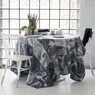 Mille Marble Black beschichtete Tischdecke